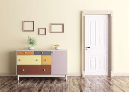 closet door: Classic interior of a room with door and chest of drawers