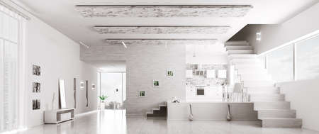 stairs interior: Interior of modern white apartment hall kitchen panorama 3d render