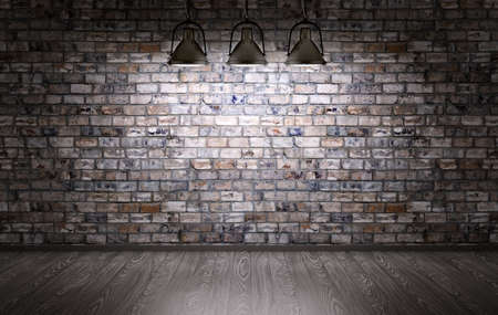 wall light: Interior of a room with brick wall and lamps