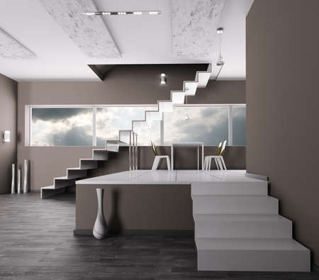 concrete steps: Interior of a room with staircase 3d render
