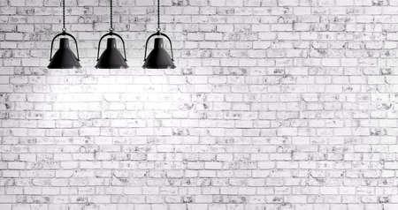 blanc: Blanc mur de briques avec trois lampes fond