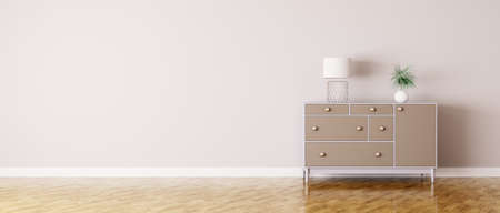 living room furniture: Interior of a room with chest of drawers panorama