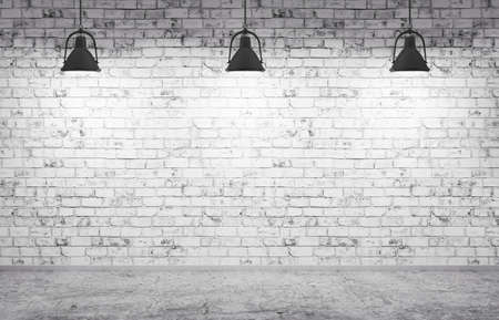 Inter aus einem Zimmer mit Ziegelmauer, Betonboden und Lampen 3d render