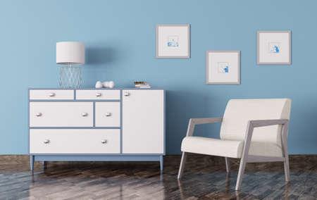 Interieur van een woonkamer met een commode en fauteuil 3d render Stockfoto
