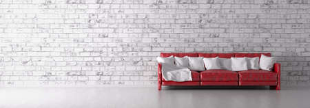 Interior with red sofa over the white brick wall panorama 3d render