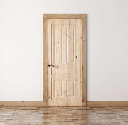 wood door: Interior with classic natural pine wood door