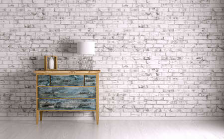 brick: Interior of a room with vintage chest of drawers 3d render Stock Photo