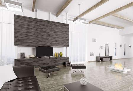 modern living room: Interior of modern living room 3d rendering