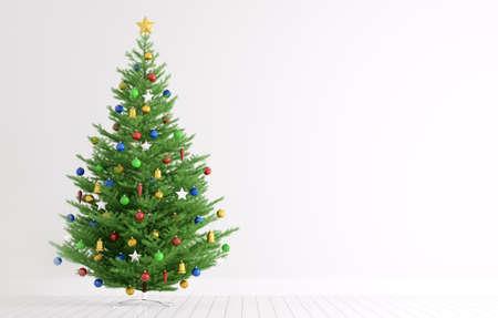 Innere eines Raumes mit Weihnachtsbaum über weiße Wand 3D-Rendering