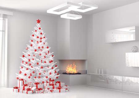camino natale: Albero di Natale bianco e doni in salotto di rendering 3d