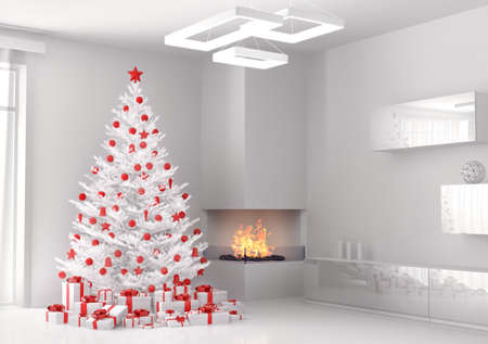 christmas baubles of modern design: White christmas tree and gifts in the living room 3d render Stock Photo