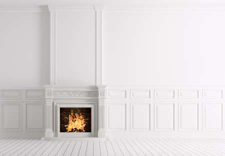 fireplace home: Interior of empty classic white room with marble fireplace 3d rendering