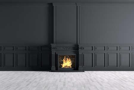 Das Innere der leeren klassischen Zimmer mit Kamin über schwarzen Platten Wand 3D-Rendering