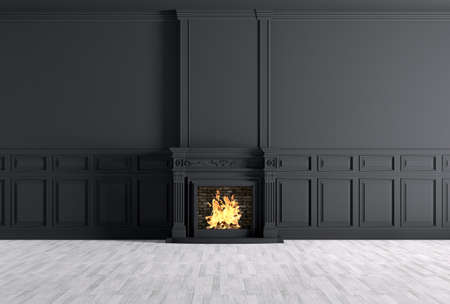 rendering: Interior of empty classic room with fireplace over black panels wall 3d rendering Stock Photo