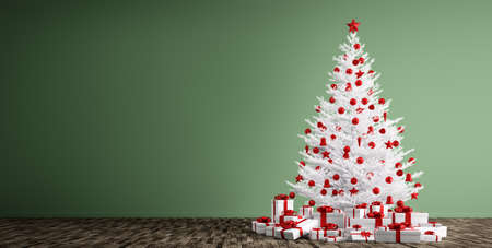 white christmas tree: Interior of a room with white christmas tree, red baubles and gifts over green wall 3d render Stock Photo