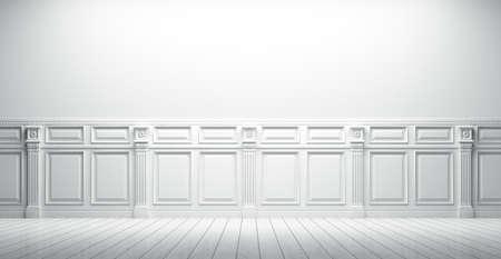 Witte vintage interieur met lambrisering achtergrond 3D render