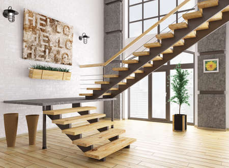 floor lamp: Modern interior of a room with staircase 3d rendering