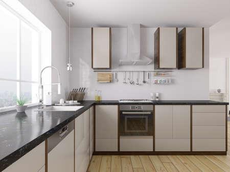 Moderne Küche mit schwarzem Granit Zähler Interieur 3D-Rendering