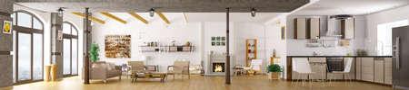 Modern appartement interieur, woonkamer, keuken, woonkamer, 3d panorama geeft terug
