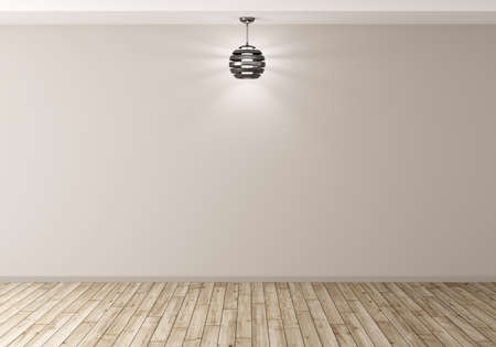 floor lamp: Empty room with lamp against of beige wall, wooden floor, interior background 3d rendering Stock Photo