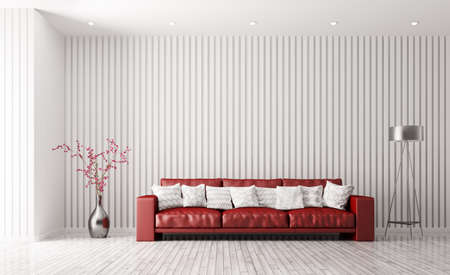 floor plant: Modern interior of white living room with red sofa, floor lamp and plant 3d rendering