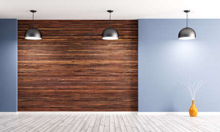 wood paneling: Empty interior background, room with brown wood paneling,blue wall, three lamps 3d rendering Stock Photo