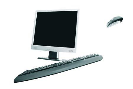 randomness: desktop computer over white