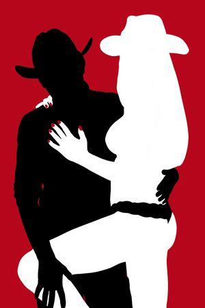 Cowgirl silhouette de cow-boy rouge
