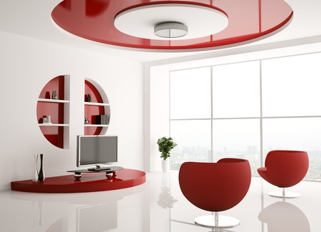 Interior of living room with armchairs and lcd 3d render