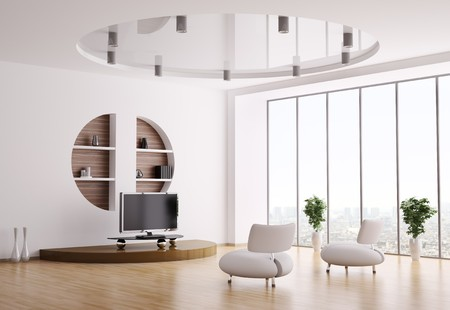 Interior of living room with white armchairs and lcd 3d render