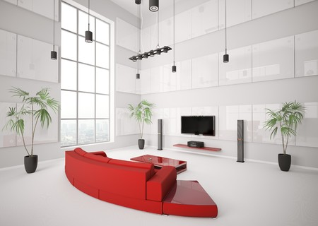 flat panel: White living room with red sofa and lcd interior 3d render Stock Photo