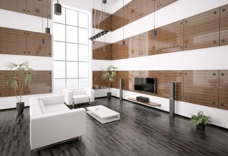 ebony wood: Living room with ebony wood panels interior 3d render Stock Photo
