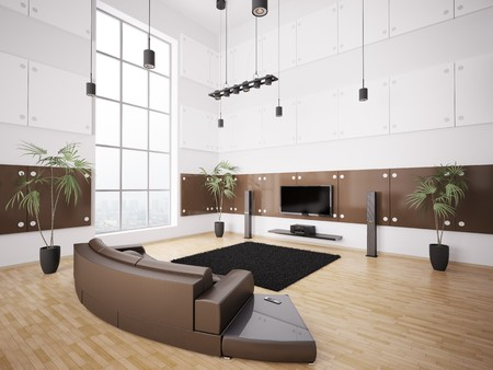 Living room with brown sofa and lcd interior 3d render