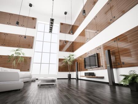 bois �b�ne: Salle de s�jour avec panneaux de bois �b�ne int�rieur 3d rendre