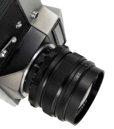 old reflex camera on white background photo