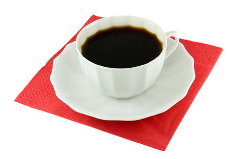 musetti: The cup coffee on red napkin.