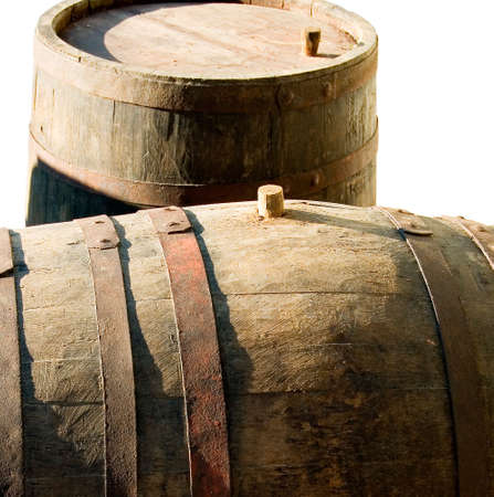 ligneous: Old barrels for wine on a white background. Stock Photo