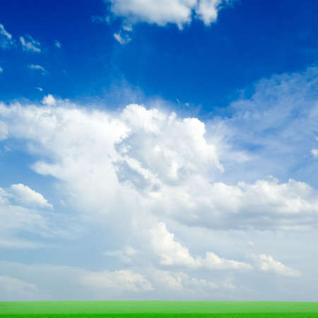 The green field and white clouds. photo