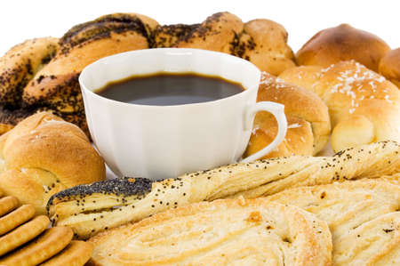 musetti: Croissant, rolls and a cup of coffee.