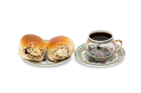 musetti: Rolls and a cup of coffee isolated on a white background.