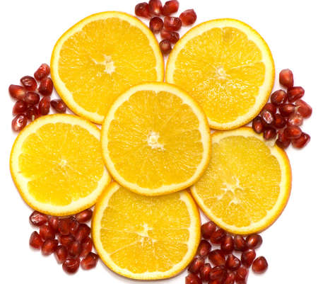 Fruit background from a lemon and seeds of a pomegranate. Stock Photo - 2256811