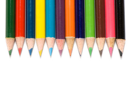 Color pencils on a white background. photo