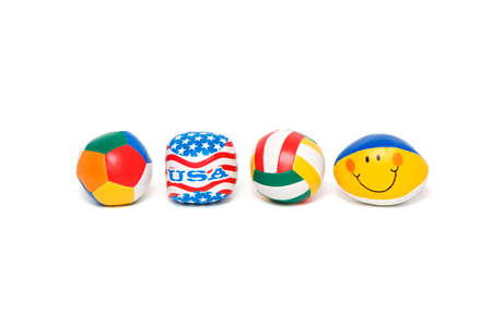 Multi-coloured balls isolated on a white background.