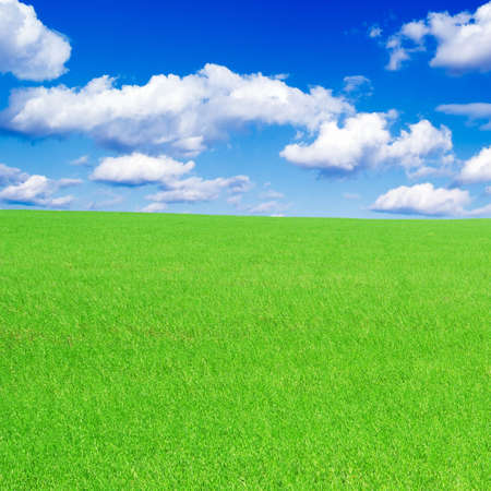 clouds and green spring field  Stock Photo - 2671147