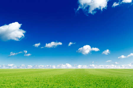 white clouds and a green spring fields Stock Photo - 2697279