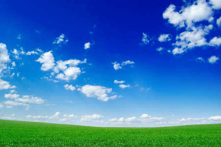 green field, blue sky, white clouds Stock Photo - 2780971