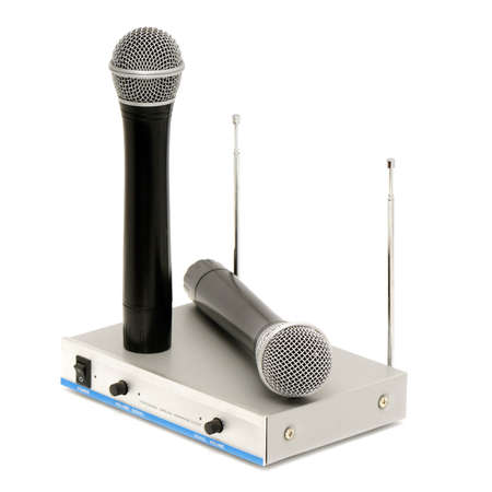 dubbing: Microphones and sound mixing console isolated on a white background