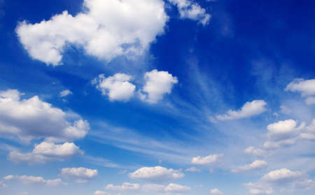 cloudiness: blue sky and beautiful fluffy white clouds Stock Photo