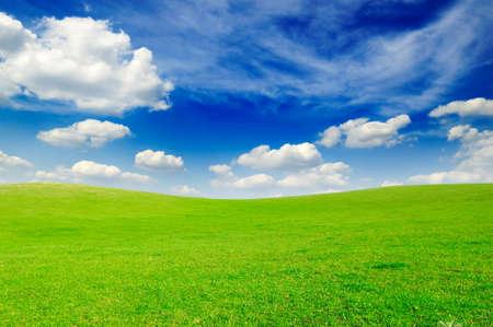 sobre el terreno y nubes blancas