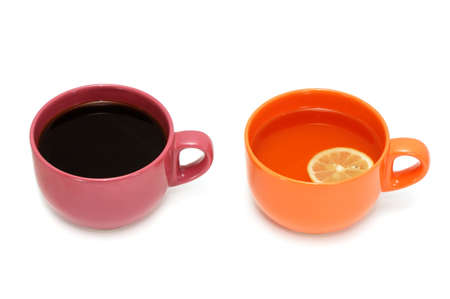 Cup of tea and cup of coffee isolated on a white background Stock Photo - 3061062